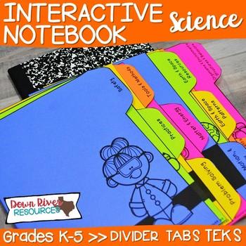 Science Interactive Notebook: Divider Tabs for Organization (TEKS)