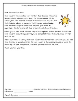 Science Interactive Notebook Parent Letter