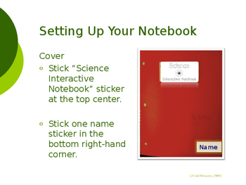 Science Interactive Notebook Set-up Slideshow