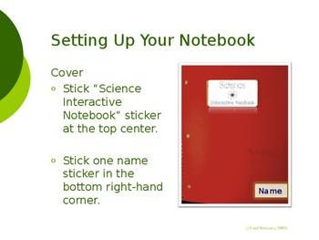 Science Interactive Notebook Set-up Slideshow