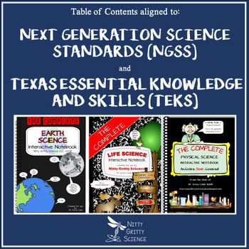 Science Interactive Notebooks - Table of Contents aligned to NGSS and TEKS