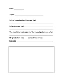 Science Investigation Reflection