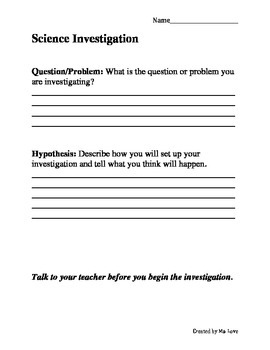 NGSS Science Investigation Template