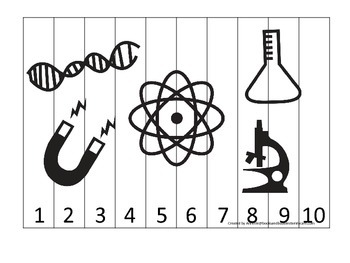 Science Items Number Sequence Puzzle 1-10 preschool homeschool game.