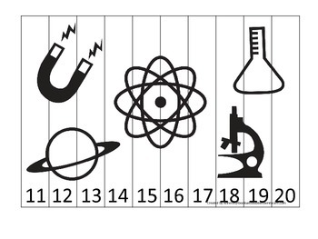 Science Items Number Sequence Puzzle 11-20 preschool homeschool game.
