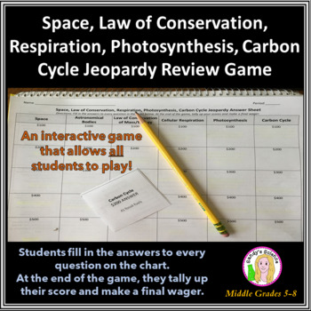 Science Jeopardy 3 Space, Respiration, Photosynthesis, Carbon Cycle