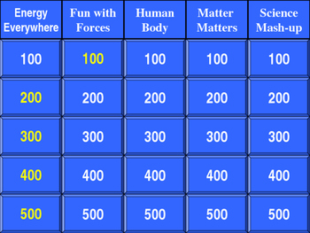 Science Jeopardy Game
