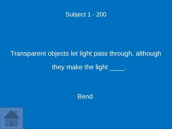 Science Jeopardy Game on Light and Sound