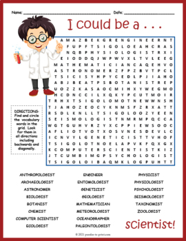 Science Jobs Word Search Puzzle