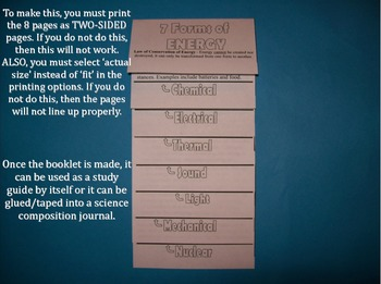 Science Journal: Energy Forms Study Booklet