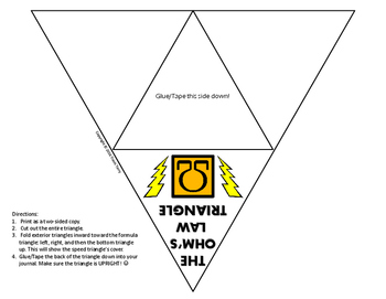 Science Journal: Ohm's Law Triangle Foldable Completed
