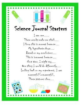 Science Journal Sentence Starter Prompts
