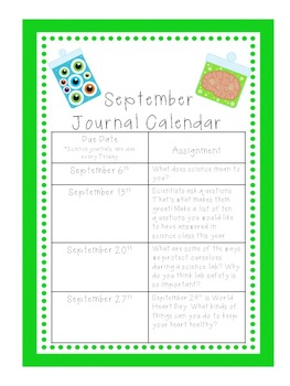 Science Journal Writing Calendar 2017-2018 UPDATED!