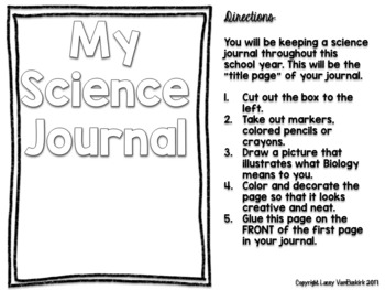 Science Journal or Composition Notebook Set-Up