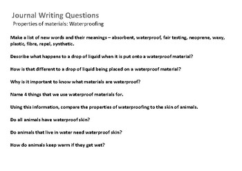 Science Journal questions for Junior Primary set 1