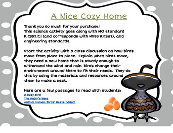 Kindergarten Science and Engineering (Animals and Habitats):  A Nice Cozy Home