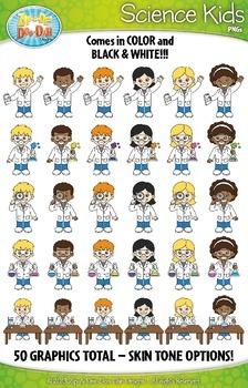 Science Kid Characters Clipart {Zip-A-Dee-Doo-Dah Designs}