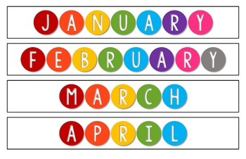 Science Kids Calendar Numbers and Colorful Month Headers