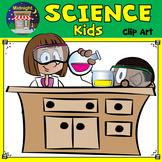 Science Kids Clip Art - Kids at Lab Tables