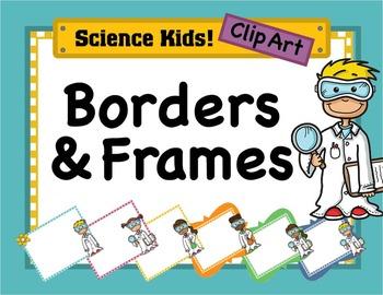 Science Kids Clipart: Borders & Frames - Set #4