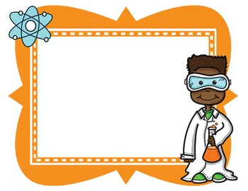 Science border. Kids clipart borders frames