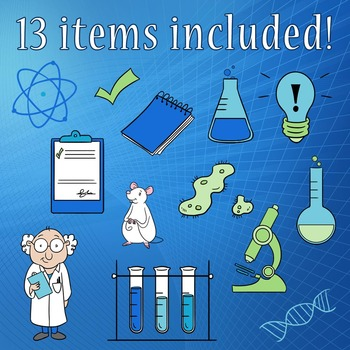 Science Kit Clip Art, Laboratory, Scientist, Mouse, Atom, Germ, Test Tubes,