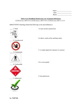 ESL: Science LAB SAFETY