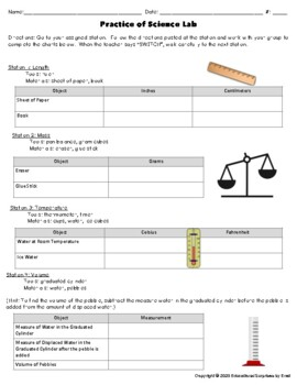 Science Lab Activity - Practice of Science/Tools & Measurements/Science Stations
