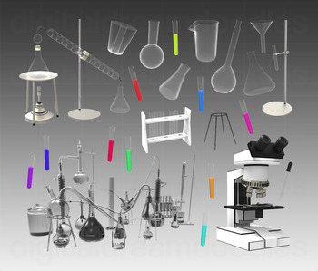 Science Lab Clip Art - Chemistry Set Digital Graphics