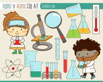 Science Lab Clip Art - color and outlines