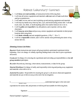 Science Lab Contract for Upper Elementary / Middle School Students and Parents
