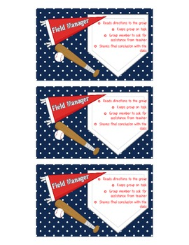Science Lab Cooperative Group Role Cards - Baseball Theme