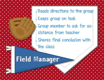 Science Lab Cooperative Group Role Posters - Baseball Theme