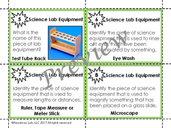 Science Lab Equipment Task Cards Advanced