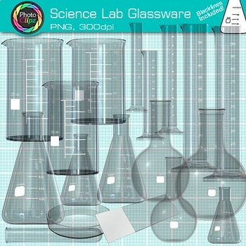 Science Lab Glassware Clip Art {Beakers, Test Tubes, Flask