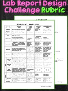 Science Lab Report Design Challenge Rubric
