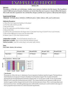 Science Lab Report Writing/Templates