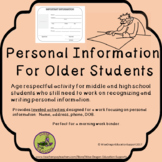 Freebie Personal Information for Older Students