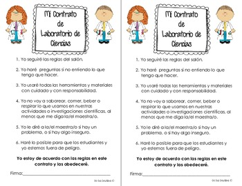 Science Lab Rules Contract {Spanish} {English}