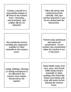 Science Lab Safety Card Sort + Rank