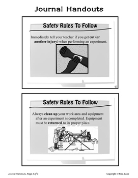 Science Lab Safety Journal Handouts