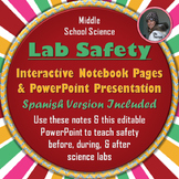 Science Lab Safety PowerPoint & Interactive Notebook Pages in English & Spanish