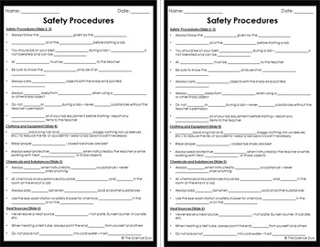 Science Lab Safety Procedures - PowerPoint and Notes