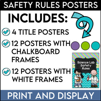 Science Safety Rules Posters in Purple, Lime, and Teal