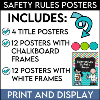 Science Lab Safety Rules Posters in Pink, Lime, and Teal