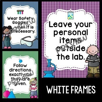 Science Safety Rules Posters in Primary Colors