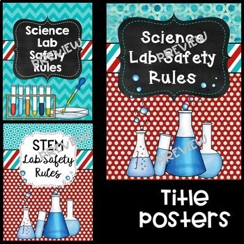 Science Lab Safety Rules Posters in Red and Teal