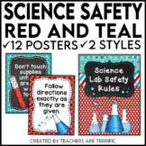 Science Safety Rules Posters in Red and Teal