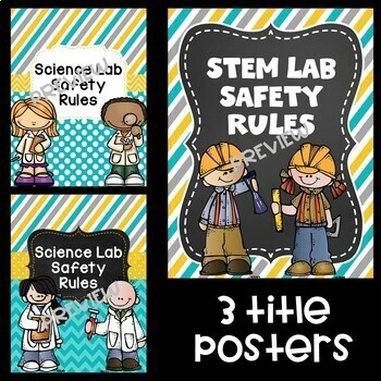 Science Lab Safety Rules Posters~ Teal, Yellow, and Gray
