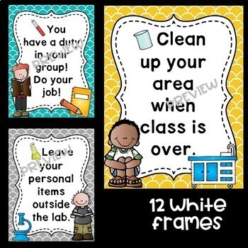 Science Safety Rules Posters in Teal, Yellow, and Gray